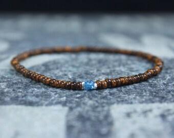 Topaz Bracelet, Birthday Gift, December Birthstone, Mens Gift, Mens Bracelet, Gemstone bracelet, Minimalist Bracelet, Beaded Bracelet