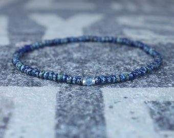 Swiss Blue Topaz Bracelet, Birthday Gift, Mens Birthstone, Men Gift, Mens Bracelet, Gemstone Men, Minimalist Bracelet, Beaded Bracelet