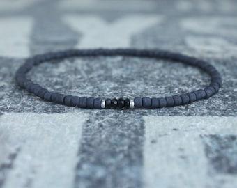 Black Tourmaline Bracelet, Mens Jewelry, Minimalist Bracelet,  Anniversary Gift, Birthday Gift, October birthstone Boyfriend Gift