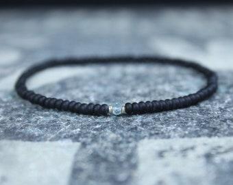 Aquamarine Bracelet, Mens Beaded Bracelet, Gemstone Bracelet, Husband Gift, Boyfriend Gift, Husband Gift, Couples Bracelet, Mens Bracelet