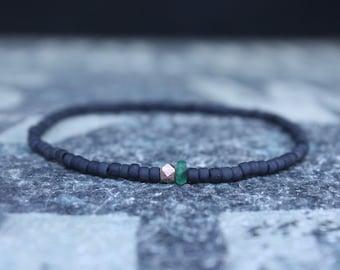Emerald  Bracelet Men, Mens Jewelry, 24k Rose Gold vermeil, Mens Beaded Bracelet, Beaded Bracelet, Mens Bracelet, Husband gift, Gift for Him