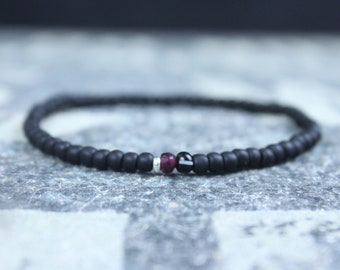 Garnet Bracelet Men, Mens Jewelry, Minimalist Bracelet, Gifts for Men, Anniversary Gift, Birthday Gift, Gift for Husband, Boyfriend Gift