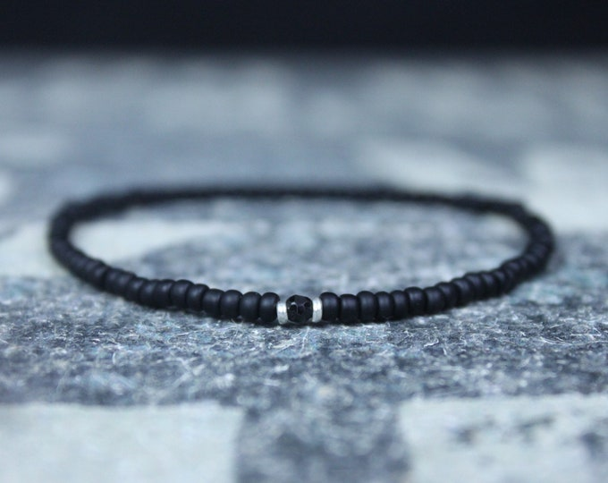 Featured listing image: Black Tourmaline Bracelet, Mens Jewelry, Minimalist Bracelet,  Anniversary Gift, Birthday Gift, Gift for Husband, Boyfriend Gift