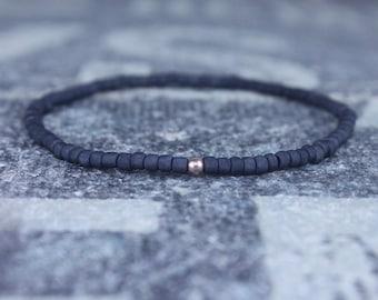 Mens Beaded Bracelet, Rose Gold Filled, Mens Bracelet, Minimalist Bracelet, Mens Jewelry, Beaded Bracelet, Boyfriend Gift, Men's Gift