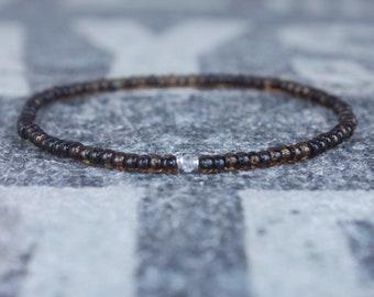 White Sapphire Bracelet, Mens Bracelet, Mens Jewelry, Mens Gift, September birthstone, Boyfriend gift, Husband Gift, Mens Beaded Bracelet