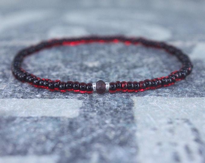 Featured listing image: Garnet Bracelet, Mens Bracelet, Mens Beaded Bracelet, Minimalist Jewelry, Mens Gift, Gift for Him, Beaded Bracelet, Bracelet Men, Bracelet