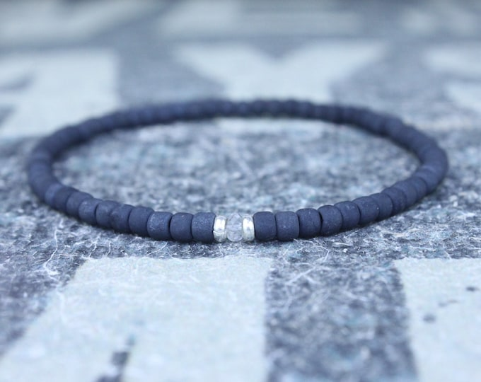 White Sapphire Bracelet, Mens Bracelet, Mens Jewelry, Mens Gift, September birthstone, Boyfriend gift, Husband Gift, Mens Beaded Bracelet