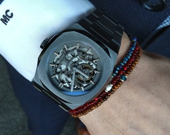 London Blue Topaz Bracelet, Pearl Bracelet, Birthday Gift, Mens Birthstone, Mens Gift, Mens Bracelet, Minimalist Bracelet, Beaded Bracelet