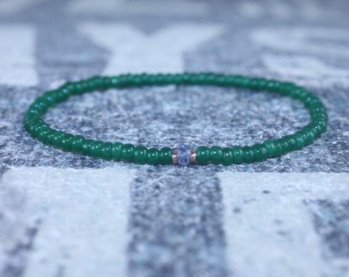 Iolite Bracelet Men, Water Sapphire, 24k Rose Gold vermeil, Mens Beaded Bracelet, September birthstone, Gift for Boyfriend, Gifts for Him