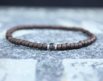 Smoky Quartz Bracelet, Mens gifts, Men bracelet, Mens Bracelet, Birthstone Bracelet, Couples Bracelet, Anniversary Gift, Beaded Bracelet