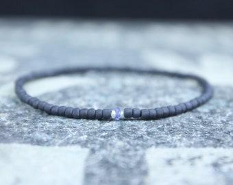 Tanzanite Bracelet, Mens Bracelet, Mens Gift, Anniversary Gift, Mens Birthstone, Gemstone Bracelet, Birthstone Bracelet, Couples Bracelet