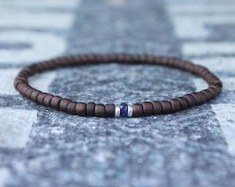 Blue Sapphire Bracelet, Mens Bracelet, Mens Jewelry, Mens Gift, Mens Anniversary gift, Boyfriend gift, Husband Gift, Mens Beaded Bracelet
