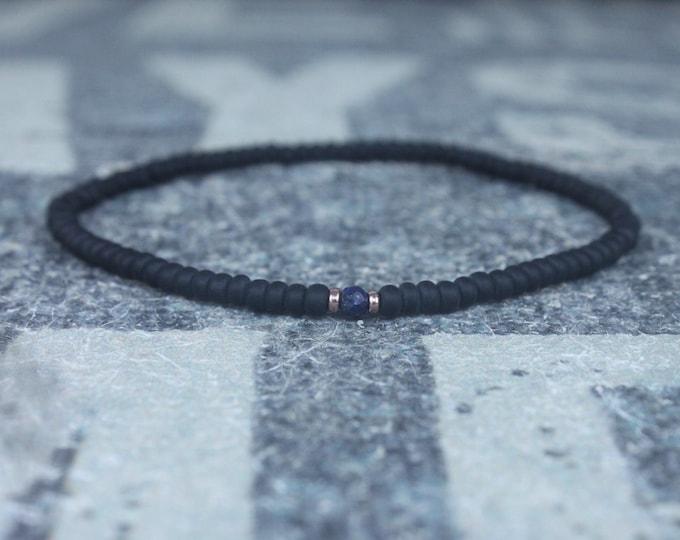 Lapis Bracelet, Mens Lapis Jewelry, 24k Rose Gold vermeil, Mens Beaded Bracelet, Friendship Bracelet, Gift for Men, Husband Gift