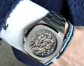 Green Onyx Bracelet, Aquamarine Bracelet, Lapis Bracelet, Mens Jewelry, Minimalist Birthday Gift, Gift for Husband, Boyfriend Gift, Set