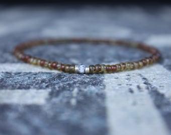 Opal Bracelet, Dendrite Opal, Mens Jewelry, Boho Bracelet, Minimalist Bracelet, Mens Gift, Boyfriend Gift, Delicate Bracelet, Gift for Men