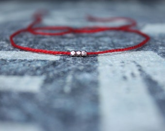 Wish Bracelet, Red String Bracelet, Kabbalah Bracelet, Men Bracelet, 24k RoseGold Vermeil KarenHill Bead, Couples Bracelet, Anniversary Gift