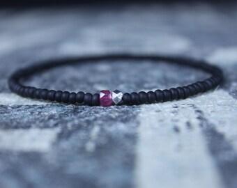 Ruby Bracelet, Mens Bracelet, Mens Gift, Anniversary Gift, May Birthstone, Gemstone Bracelet, Birthstone Bracelet, Couples Bracelet