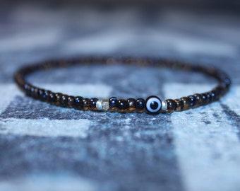Citrine Bracelet, Evil Eye Bracelet, Mens gifts, Gift for Husband, Boyfriend Gift, Birthstone bracelet, Anniversary Couples Bracelet