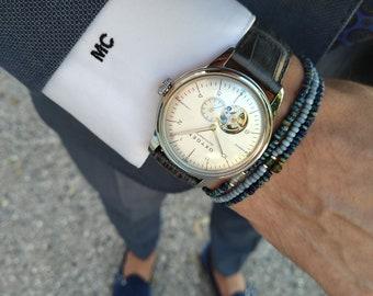 Aquamarine Bracelet for Men, Jade Mens Bracelet, Pure silver and 24k Rose gold vermeil, Husband Gift, Couples Bracelet, Mens Bracelet, Set