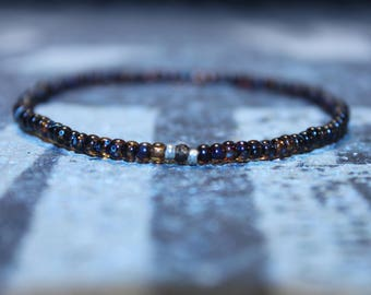Mens Sapphire, Mens Gift for Him Birthday - Genuine Brown tone Tunduru Sapphire with Raw Incrustations (quality B) Men's Bead Bracelets