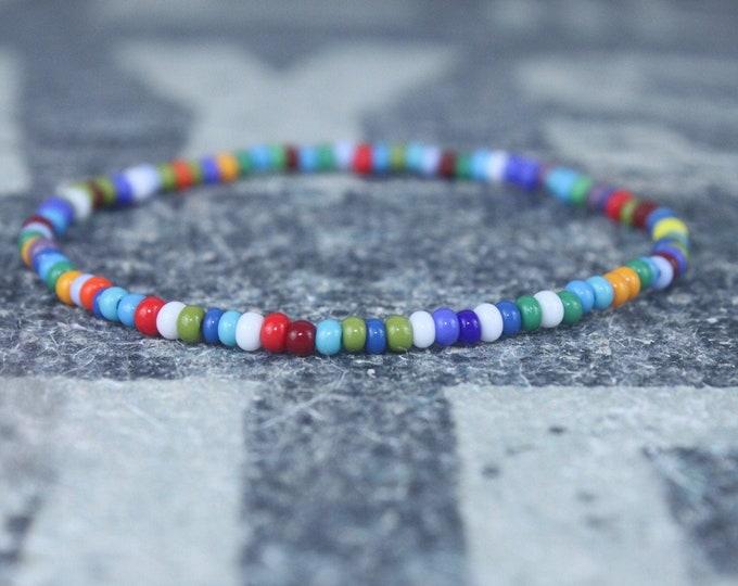 Mens Multicolor Bracelet, Mens Rainbow Bracelet, Minimalist jewelry, Minimalist Bracelet, Mens Jewelry, Beaded Bracelet, Boyfriend Gift