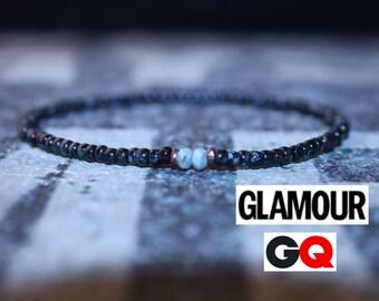 Larimar Bracelet, Mens Bracelet, Mens Jewelry, Mens Beaded bracelet, Mens Stone Bracelet, As seen in GQ, Glamour, Bracelet Men, Husband Gift