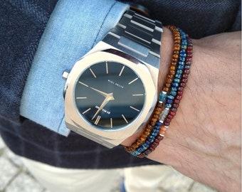 Aquamarine Bracelet, Carnelian Bracelet, Topaz Bracelet, Mens Beaded Bracelet, Boyfriend Husband Gift, Couples Bracelet, Mens Bracelet Set