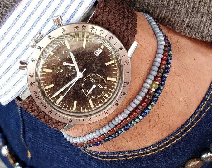 Citrine Bracelet for Men, Men Beaded Bracelet, Mens gift, Gift Husband, Boyfriend Gift, Birthstone bracelet, Mens Thin Beaded Bracelet Set