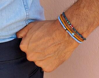 Blue Topaz Bracelet, Blue Opal Bracelet, Green Onyx Bracelet, Mens Birthday Gift, Mens Bracelet, Minimalist Bracelet, Bracelet Set