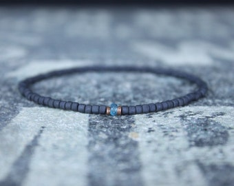 Blue Topaz Men's Bracelet, Gift for Men, Birthday Gift, December Birthstone, Gemstone bracelet, Minimalist Bracelet, Beaded Bracelet