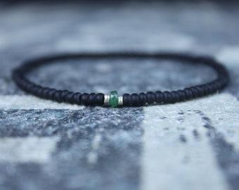 Emerald Bracelet, Mens Bracelet, Raw Emerald, Anniversary Gift, May Birthstone, Gemstone Bracelet, Birthstone Bracelet, Couples Bracelet