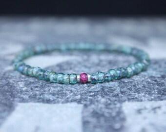 Mens bracelet, Rhodochrosite Men, Couples Bracelet, Boyfriend gift, Husband gift, Anniversary gift for men, Mens bead bracelet, Mens Gift