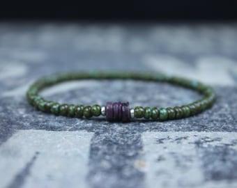 Ruby Bracelet, Mens Bracelet, Mens Jewelry, Mens Gift, Mens Anniversary gift, Boyfriend gift, Husband Gift, Mens Beaded Bracelet