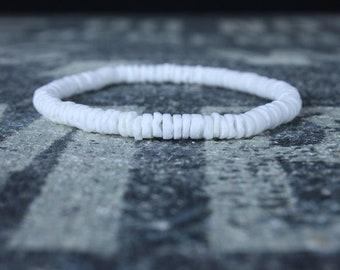 Shell Bracelet, Mens Bracelet, Mens Gift, Anniversary Gift, White Bracelet Men, Gemstone Bracelet, Birthstone Bracelet, Couples Bracelet