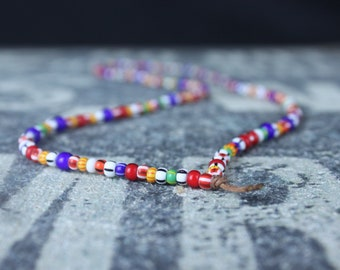 Mens Beaded Necklace, Mens Necklace, Mens Jewelry, Metal Free, Water Resistant, No Clasp, Seed Bead Necklace for Men