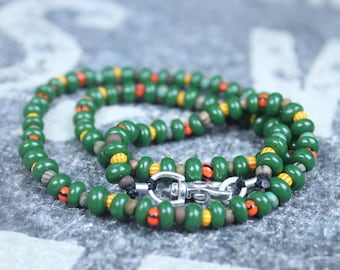 IBIZA Mens Beaded Necklace, Mens Necklace, Mens Jewelry, African Necklace, Ibiza necklace, Rainbow necklace, Seed Bead Necklace for Men