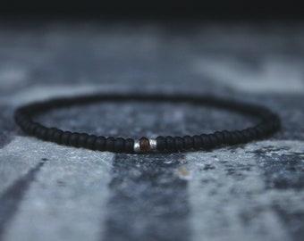 Friendship Bracelet - Sapphire bead bracelet - Men's Bead Bracelets Gem - Tunduru Sapphire with Raw Incrustations, Mens Seed Bead