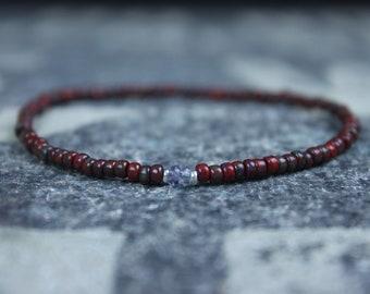 Gifts for Men, Iolite, Friendship Bracelet, Mens Bracelet, Beaded Bracelet, Boyfriend Gift, Gift for Boyfriend, Gifts for Him