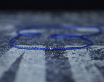 Wish Bracelet, Blue String Bracelet, Kabbalah Bracelet, Men Bracelet, Pure Silver Karen Hill Bead, Couples Bracelet, Anniversary Gift