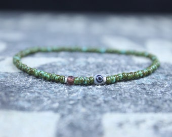 Garnet Bracelet, Evil Eye Bracelet, Mens Beaded Bracelet, Minimalist Jewelry, Mens Gift, Gift Him, Beaded Bracelet, Bracelet Men, Bracelet