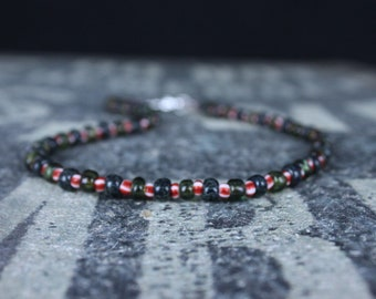 IBIZA Mens Beaded Necklace, Mens Necklace, Mens Jewelry, Mens Gift, Husband Gift, Sterling Silver clasp, Seed Bead Necklace for Men