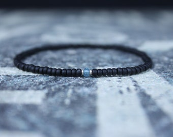 Gift for Men, Sky Blue Topaz Mens Bracelet, Birthday Gift, Mens Birthstone, Gemstone bracelet, Minimalist Bracelet, Beaded Bracelet