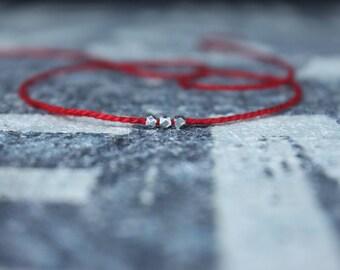 Wish Bracelet, Red String Bracelet, Kabbalah Bracelet, Men Bracelet, Pure Silver Karen Hill Bead, Couples Bracelet, Anniversary Gift