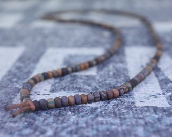 Mens Necklace, Mens Beaded Necklace, Long Necklace for Men, Metal Free Necklace without Clasp, No Clasp Necklace, Bead Necklace, Mens Gift