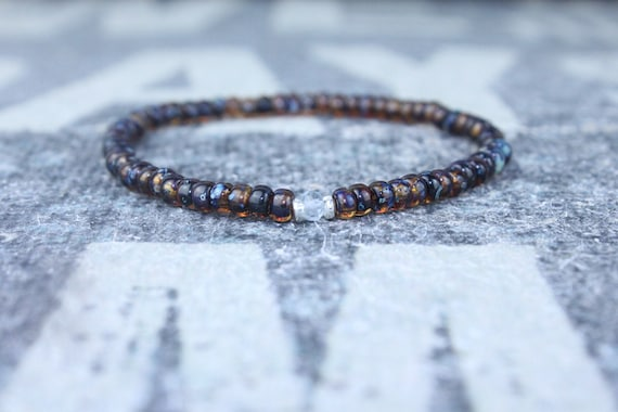 emerald bracelet minimalist bracelet birthday gift gift for men men bracelet dark brown bracelet husband gift gift for him