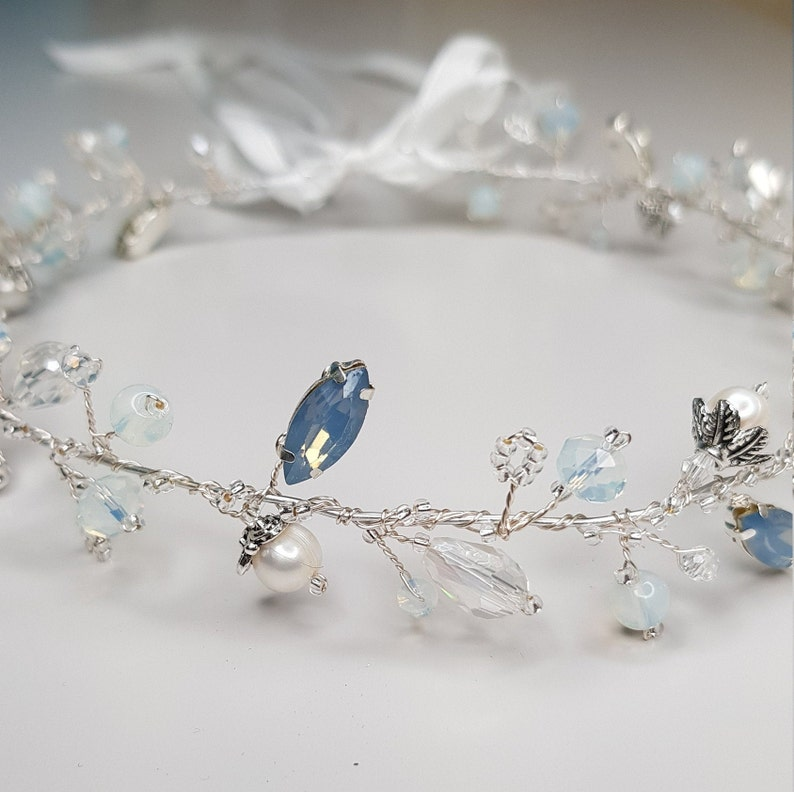 Bridal Hairpiece Freshwater Pearl Crystal Opal Wedding Headpiece Hair Vine Wreath Halo Ribbon Tie Headband Crystal /& Opal Crown
