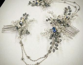 Hair chain - bridal headpiece - wedding hair chain - 1920s art deco - Bridal hair - Hair accessories- Gatsby headdress - Boho head chain
