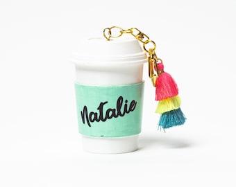 Personalized Coffee Cup Keychain, Coffee Lover Keychain, Personalized Keychain, Bridesmaid Gift, Monogrammed Keychian, Starbucks Gift