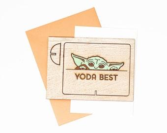 Baby Yoda Wood Greeting Card, Grogu Wood Greeting Card, Mandalorian Greeting Card, Star Wars Merch, Birthday Greeting Card, Gifts for Him