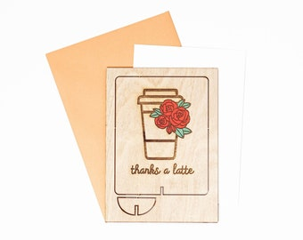 Thank You Wood Greeting Card,  Latte Greeting Card, Thank You Greeting Card, Coffee Lover Greeting Card, Wood Pop Up Card